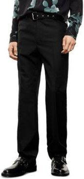 Black Belted Black Suit Trousers