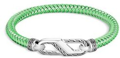 Sterling Silver Classic Woven Green Rubber Carabiner Clasp Bracelet