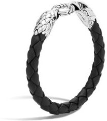Legends Eagle Silver Double Head Bracelet on Woven Black Leather with Black Onyx