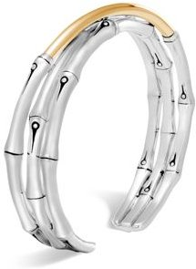 Brushed 18K Yellow Gold and Sterling Silver Bamboo Small Flex Cuff