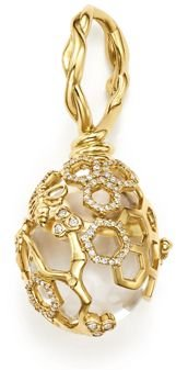 18K Yellow Gold Beehive Rock Crystal Amulet Pendant with Diamonds