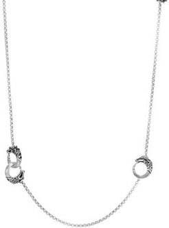 Brushed Sterling Silver Legends Naga Round Chain Necklace with Black Spinel, 36