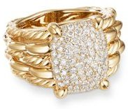 Tides Statement Ring in 18K Yellow Gold with Pave Plate