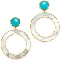 18K Yellow Gold Polished Rock Candy Turquoise & Mother-of-Pearl Drop Earrings