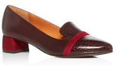 Roz Snake-Embossed Block-Heel Loafers