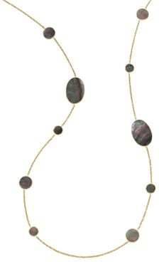 18K Yellow Gold Polished Rock Candy Black Shell Station Necklace, 37