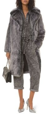 Wide-Lapel Faux-Fur Long Coat