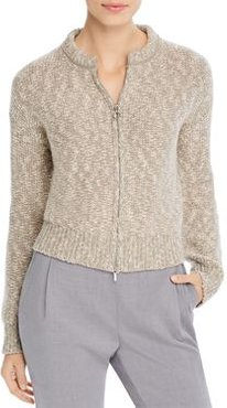 Marled Knit Zip-Front Cardigan