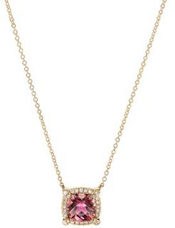 Petite Chatelaine Pave Bezel Pendant Necklace in 18K Yellow Gold with Pink Tourmaline, 18