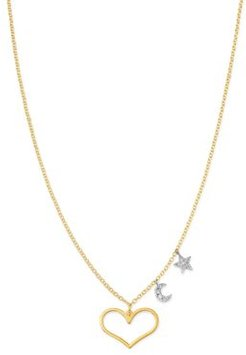 14K White Gold & 14K Yellow Gold Diamond Star, Moon & Heart Pendant Necklace, 16-18