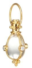 18K Classic Amulet Pendant with Oval Rock Crystal and Diamond