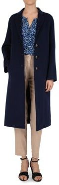Button-Front Long Double-Face Wool Coat