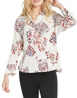 Nic + Zoe Scattered Letters Printed Blouse