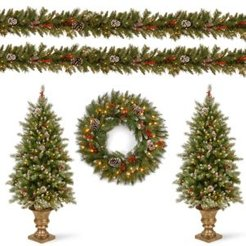 Frosted Berry Lighted Tree, Wreath and Garland Set