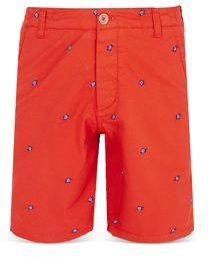 Slim Fit Turtle Embroidered Bermuda Shorts