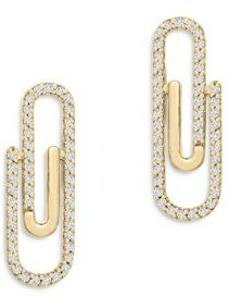 Diamond Paper Clip Stud Earrings in 14K Yellow Gold, 0.25 ct. t.w. - 100% Exclusive