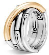 Brushed 18K Yellow Gold and Sterling Silver Bamboo Ring