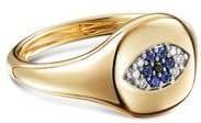 Cable Collectibles Evil Eye Mini Pinky Ring in 18K Gold with Diamonds