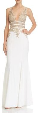 Plunging Embellished Gown - 100% Exclusive
