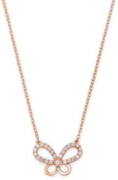 Diamond Butterfly Pendant Necklace in 14K Rose Gold, 0.25 ct. t.w. - 100% Exclusive