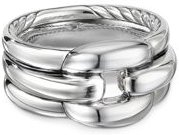 Sterling Silver Thoroughbred Cushion Link Ring