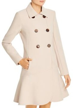 Double-Breasted Flounced Twill Coat