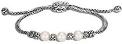 Sterling Silver Classic Chain Cultured Freshwater Pearl Slider Bracelet