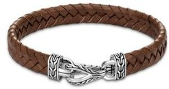 Sterling Silver & Brown Leather Classic Chain Asli Braided Cord Bracelet