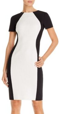 Colorblocked Mixed-Media Sheath Dress