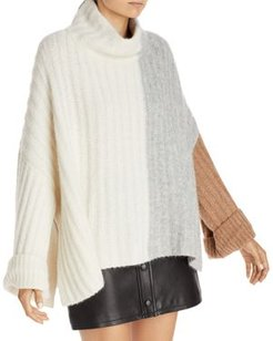 Colorblocked Ribbed Knit Poncho