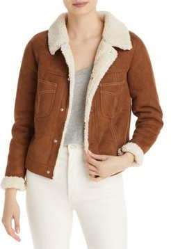 The Curved Pocket Faux Shearling Aviator Jacket