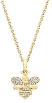 Diamond Bee Pendant Necklace in 14K Yellow Gold, 0.10 ct. t.w. - 100% Exclusive