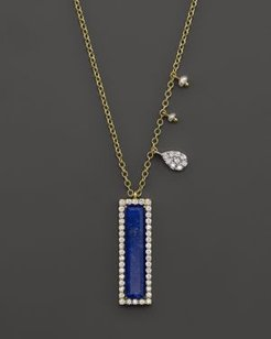 14K Yellow Gold Lapis Pendant Necklace with Diamonds, 16