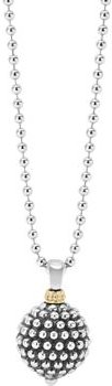 Sterling Silver Caviar Ball Pendant Necklace, 34