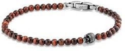 Spiritual Beads Skull Bracelet with Red Tiger's Eye in Sterling Silver
