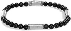 Hammered Sterling Silver Classic Chain Station and Black Onyx Bead Bracelet