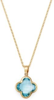Blue Topaz Clover Pendant Necklace in 14K Yellow Gold, 18 - 100% Exclusive