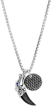 Sterling Silver Legends Naga Silver Sheen Obsidian & Blue Sapphire Eyes Pendant Box Chain Necklace, 24