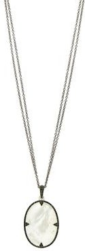 Industrial Finish Double Chain Mother-of-Pearl Pendant Necklace in Rhodium-Plated Sterling Silver, 30