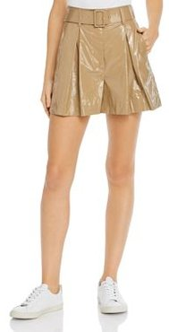 Faux-Patent-Leather Pleated Shorts