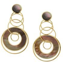 18K Yellow Gold Polished Rock Candy Brown Shell Circle Drop Earrings