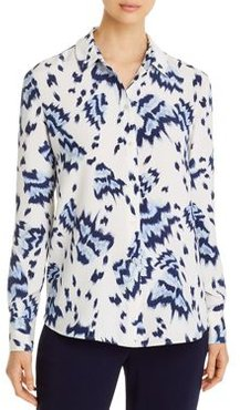 Painted-Butterfly Print Collared Blouse