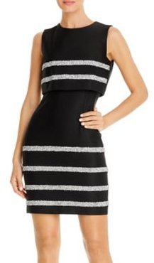 Sequin Stripe Popover Sheath Dress