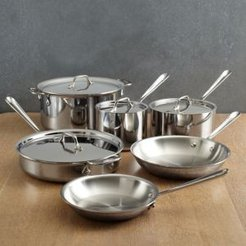 All Clad D3 Stainless Steel 3-Ply Bonded 10-Piece Cookware Set