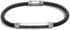 Sterling Silver Classic Chain Black Sapphire Station Bracelet with Black Leather