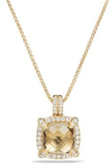 Chatelaine Pave Bezel Pendant Necklace with Champagne Citrine and Diamonds in 18K Gold