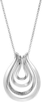 Sterling Silver Classic Chain Multi-Row Pendant Necklace