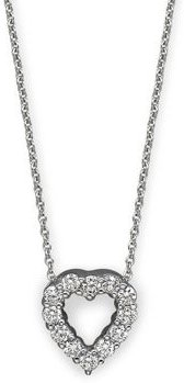18K White Gold Baby Heart Pendant Necklace with Diamonds, 16