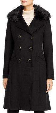 Maci Faux Fur Trim Double-Breasted Front Coat