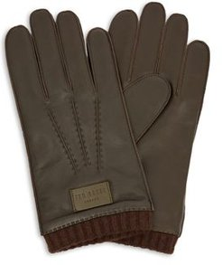 Blokey Knit-Cuff Leather Gloves